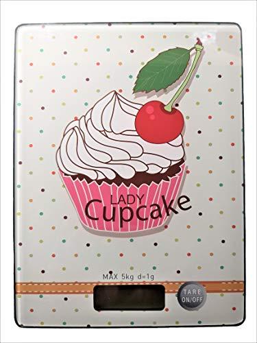 Sam for You Digitale Küchenwaage, rechteckig, präzise wiegen bis 5 kg, Tara Funktion, Lebensmittelwaage, Lebensmittelskala, LCD Screen,Inkl Batterie (Cupcake, 203x153)