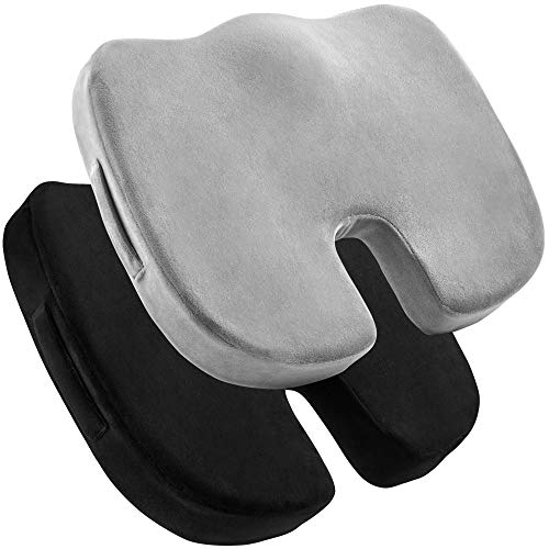 2 Pack Comfort Seat Cushion – Memory Foam Tailbone Pillow Pad for Sitting, Office, Computer Desk Chair, Car, Travel – Contoured Posture Corrector for Sciatica, CoccyxBack Pain Relief (Black and Grey)