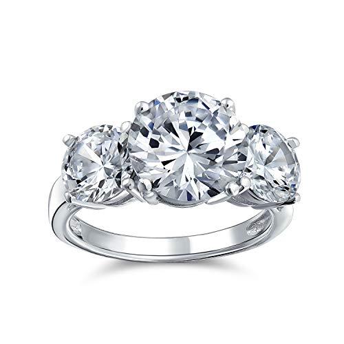 Bling Jewelry 3Ct Redondo Solitario 3 Promesa De Futuro Pasado Presente Piedra Zirconia Cúbico AAA CZ Anillo De Compromiso 925