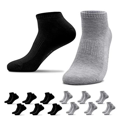 QINCAO 12 Paar Sneaker Socken Herren Damen Sportsocken Baumwoll Unisex Schwarz Grau, 43-46