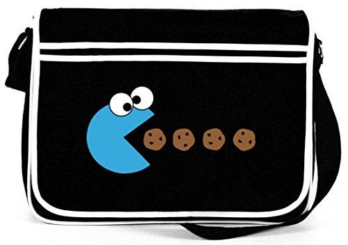 Shirtstreet24, BLUE MONSTER, Retro Messenger Bag Kuriertasche Umhängetasche, Größe: onesize,Schwarz