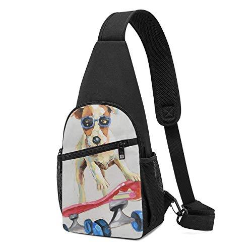 Skateboarding Dog Men Chest Pack Bag Reversible Sling Pack Sling Backpack Sling Bag Crossbody Backpack Rucksack for Outdoor