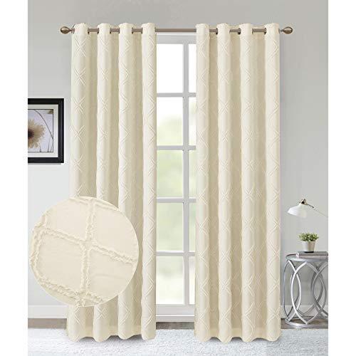 Dalina Textil 2 Piezas Cortina con Estampado Rombo Multidiseño para Salón o Habitación 140X260CM (Rombo Beige)