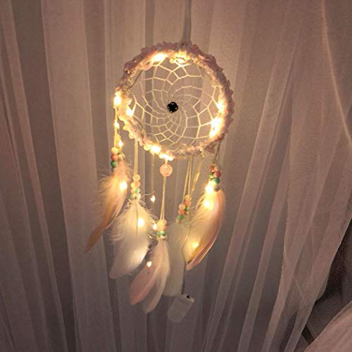 Rameng LED Dream Catcher avec Guirlande Lumineuse Attrape Rêve Lumineux Décoration Ornement Craft (F)