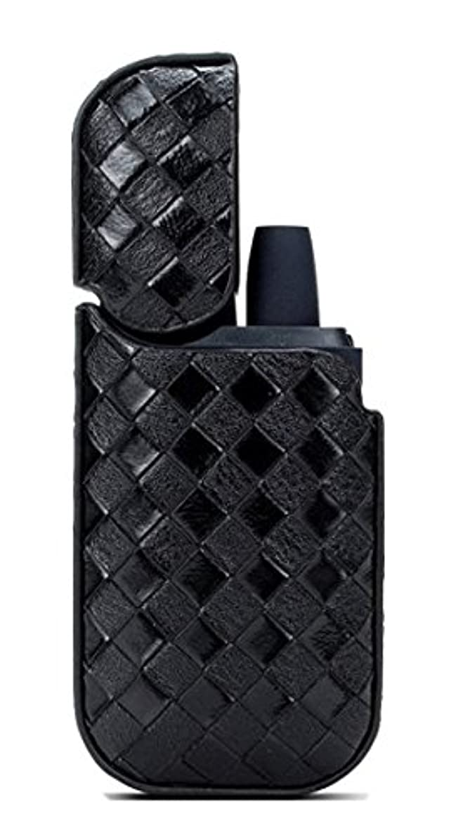 一部文法メールIQOS アイコス ケース イントレチャート 編み込み レザー フルカバー 蓋付き ストラップホール付き ブラック iNTE-E Cases003BK