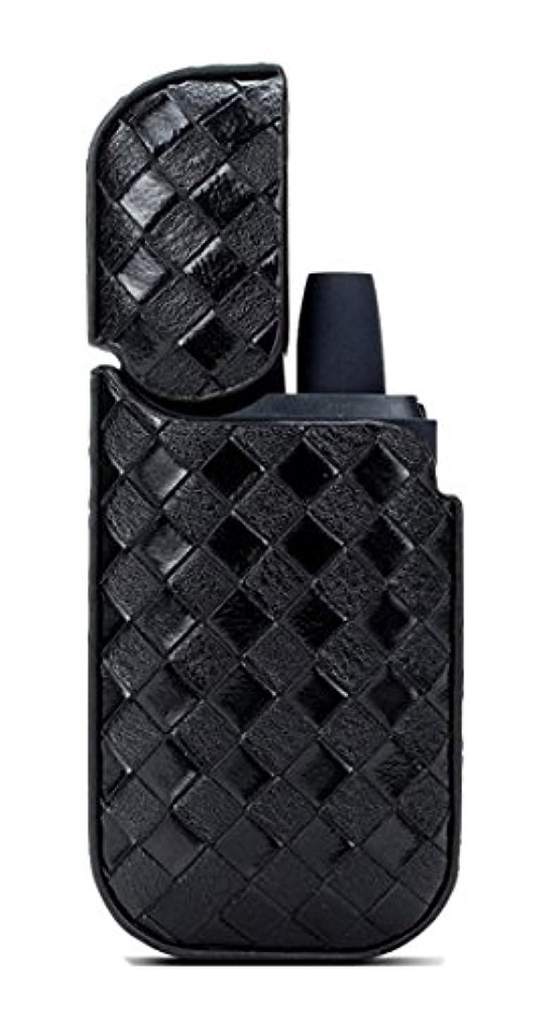 ファーザーファージュ探偵老人IQOS アイコス ケース イントレチャート 編み込み レザー フルカバー 蓋付き ストラップホール付き ブラック iNTE-E Cases003BK