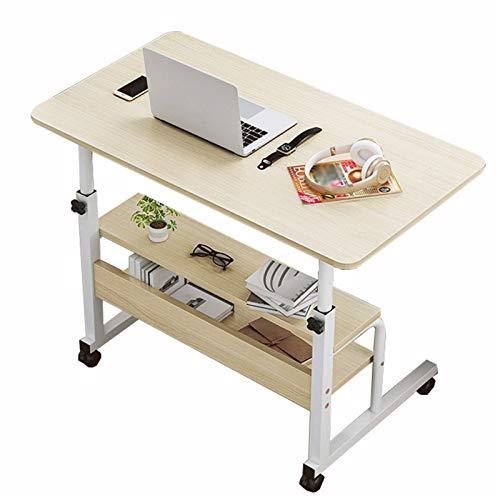 Mesa de trabajo para computadora con ruedas, mesa de noche, mesa auxiliar para computadora portátil, altura ajustable en forma de C con ruedas, mesa portátil (color: B, tamaño: 80 x 40 cm)