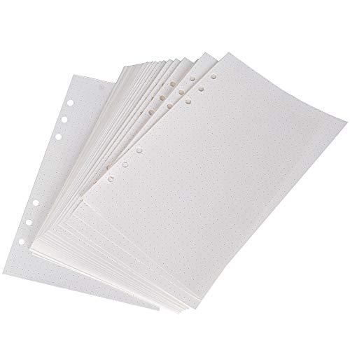 Hojas de Recambio A5 Punteadas Recambios de Agendas Folios Hojas de Recambio 6 Anillas 160 Hojas/320 Páginas para Cuadernos Diarios Planificador Calendario DIY Scrapbooks