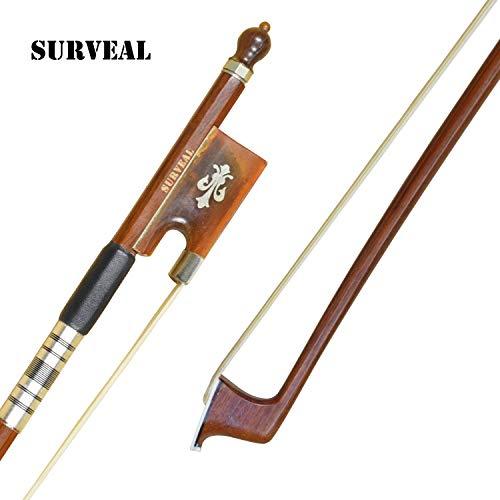 SURVEAL - Arco de violín barroco de madera de Brasil tallada con cuerno de buey...