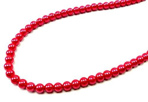 Trendit Damen Perlenkette 8mm x 58cm rot