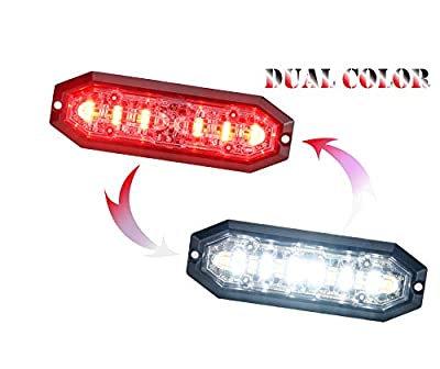 Unicorn Lighting UT01 Surface Mount Warning Emergency Strobe Grille Light Head [SAE class 1] [Dual Color] [IP68] for Police and Tow Truck Construction Vehicle Red White
