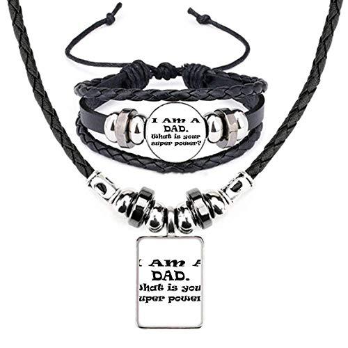 Conjunto de joias de couro com citação do festival dos pais Super Power