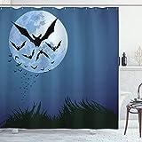 ABAKUHAUS Halloween Duschvorhang, Wolke von Fledermäusen fliegen, mit 12 Ringe Set Wasserdicht Stielvoll Modern Farbfest & Schimmel Resistent, 175x200 cm, Nachtblau Schwarz Grau