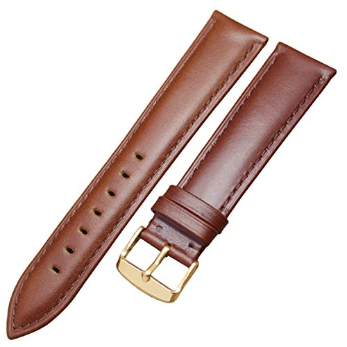 ZZDH Correa Reloj Cuero 18 mm 19 mm 20 mm 21mm 22mm 24mm Correa de la Correa y la Correa de Reloj Mujeres (Band Color : Brown Gold Buckle, Band Width : 21mm)