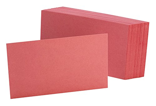 """Oxford Blank Color Index Cards, 3"""" x 5"""", Cherry, 100 Per Pack (7320 CHE)"""
