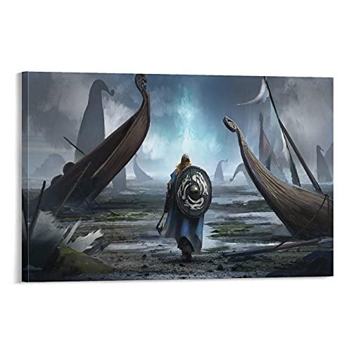 Póster decorativo de la pared de los buques de guerra vikingos de juegos de televisión de 30 x 45 cm