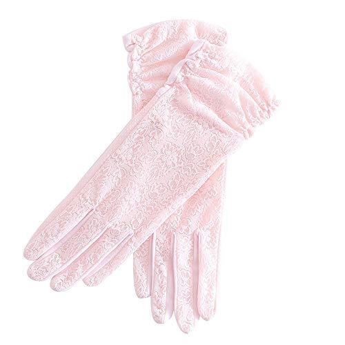 BPFSST Frühlings-Sommer-Frauen-kurze Sonnencreme-Handschuhe Spitze-Silk Silk Sonnencreme, die rutschfeste Handschuhe UV-Schutz im Sommerhandschuh rutschfest ist, elastisch kann Touch Screen Kurzer Han