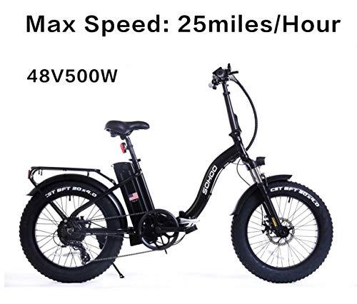 SOHOO 48V500W12AH E-Bike 20' Folding Fat Tire Electric Bike Mountain Adult Foldable Beach Snow...