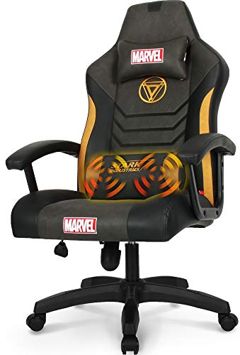 Marvel Avengers Gaming Chair Office Chair High Back Computer Chair PU Leather Desk Chair PC Racing Executive Ergonomic Adjustable Swivel Task Chair Headrest and Lumbar Support (Iron Man, Black)