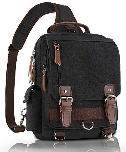 Messenger Bag for Men, Canvas Shoulder Backpack Travel Rucksack Sling Bag, Mens Vintage Messenger Bags with Leather Buckle for School Travel Fit 11 inch Laptop Tablet, Black