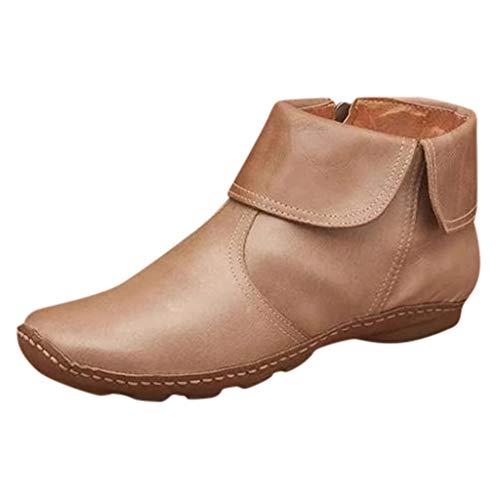 Schuhe Damen Fashion Flats rutschfeste Leder Reißverschluss Runde Zehen Casual Ankle Boots (43,Beige)