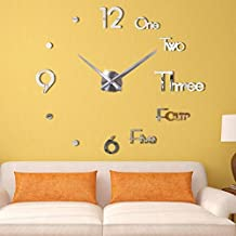 BJGCWY 3D DIY Large Wall Clock Modern Design Wall Sticker Clock Silent Home Decor Living Room Acrylic Mirror Nordic Wall Clock 47inch Silver