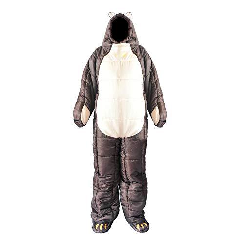 Foliner Schlafsack Bär förmige Ganzkörper-Wearable Warm Hood Brown Sleeping Beutel für Erwachsene Jugendliche Kinder