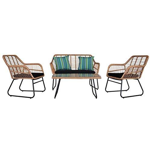 Rattan Garden Furniture wicker Set, Outdoor Indoor Use Backyard Porch Garden Lounge Poolside Balcony Furniture 4 Piece Sets Sofa Table Chair Patio, Tan