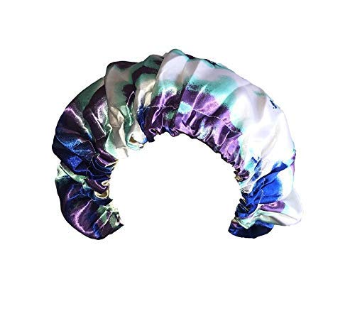 Jumbo Satin Bonnet for Black Women, Satin Bonnet for Curly Hair Sleeping, Satin Cap to Protect Hair. Adjustable, Extra Large, Double Layer, Reversible Bonnets for Natural and Long Hair