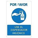 Señalización COVID-19 | Cartel Dosificador Higiénico para empresas, comercios, oficinas | Señal Coronavirus | Autoinstalable| 21 x 30 cm | Descuentos por Cantidad