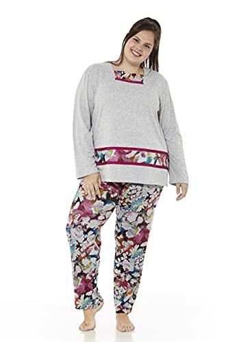 Mabel Intima Damska pidżama duże rozmiary, damska piżama z długim rękawem, zimowa pidżama duży rozmiar, pidżama rozmiar 46 do rozmiaru 70, Szary ze spodniami z nadrukiem,