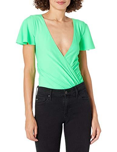 Amanda Uprichard Damen Elle Stretch CROSOVER Bodysuit Bluse, Lime, X-Klein