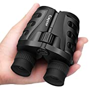 Cayzor 10x25 Binoculars for Adults and Kids Compact HD Folding High Powered with Weak Light Night Vision Clear Bird-Watching Great for Outdoor Sports Games and Concerts