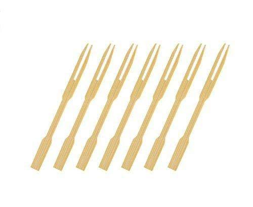 CDOFFICE 320 PCS Mini Bamboo Cocktail Fork Sticks Fruit Picks for Parties Buffets Food Tastings