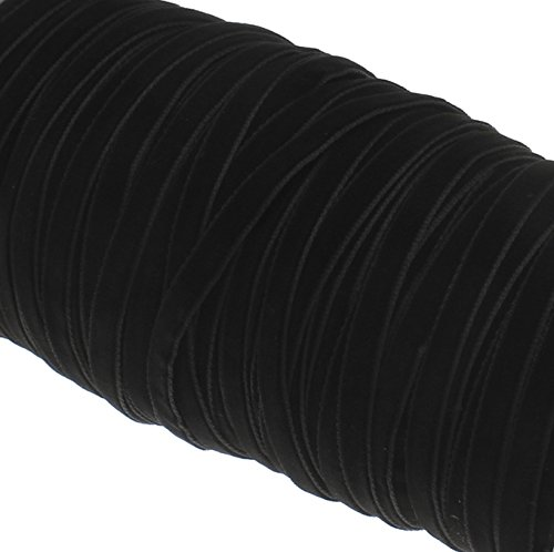 Perlin 15 Meter Samtband 6mm Samtborte Schmuckband Schleifenband Zierband Zierborte Borte Band SCHWARZ C189