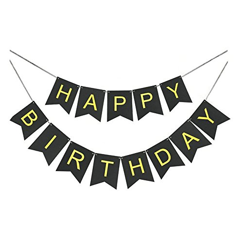GOER Black Happy Birthday Banner with Shiny Gold Letters for Birthday Party Decorations