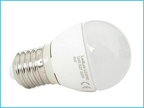 Lampada A Led E27 G45 6W Bianco Caldo Forma Sfera Bulbo Palla 240° 220V