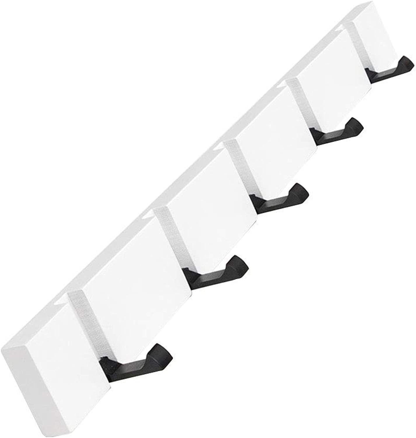 DYR Wall-Mounted Coat Rack Modern, Elegant, Space-Saving Coat Rack with Retractable Hooks, White (Size  50cm)