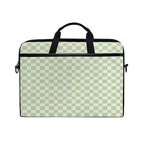 FOURFOOL 15-15.6 inch Laptop Bag,Big Squares Checked Pattern in Soft Colors Retro Monochrome Tile Print,New Canvas Print Pattern Briefcase Laptop Shoulder Messenger Handbag Case Sleeve