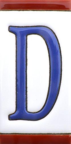 ART ESCUDELLERS Numeros y Letras en azulejo de Ceramica, Pintados a Mano en técnica Cuerda Seca para Nombres, direcciones y señaléctica. Diseño USA Mediano 10,9 cm x 5,4 cm. (Letra D)