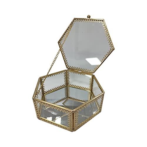 Fugift Joyero de cristal vintage de latón dorado adornado con bordes de encaje, organizador de joyas geométricas hexagonales, caja de recuerdos, caja decorativa para almacenamiento y pendientes