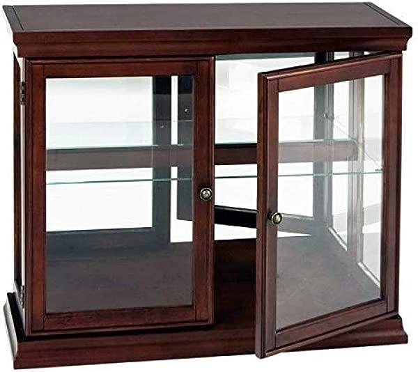 Pemberly Row Mahogany Curio Console Sofa Table With Glass Doors Glass Shelf