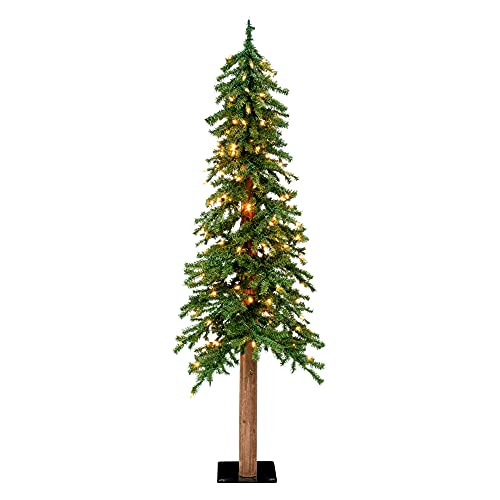 5 foot Vickerman Pre Lit Natural Alpine Artificial Christmas Tree with 150 Clear Mini Lights Green