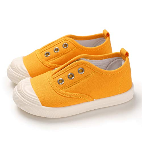 E-FAK Kids Canvas Sneaker Toddler Boys Girls Slip On Tennis Shoes Lightweight Fashion Casual Running Shoe (6 Toddler, A/Yellow)