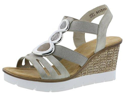 Rieker 65540 Damen Sandalen, Sandaletten, Sommerschuhe grau (Grey/Fango-Silver/Altsilber/Argento / 40), EU 37