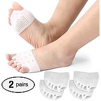 2 pares de separadores de dedos de gel, almohadillas metatarsales, Alisador de dedos de gel, para dedos superpuestos, corrector de juanetes, alivio del dolor de juanetes.