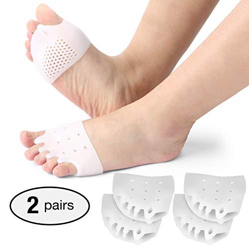2 paia di separatori in gel per dita dei piedi, raddrizzatore in gel per dita sovrapposte, correttore per alluce valgo, sollievo dal dolore all\'avampiede.