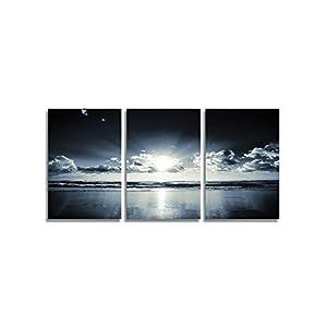 CrmaOArt - アートパネル 「黒い白い紺色の海の夕日」 壁掛け 風景写真の壁の写真を絵画 ポスター キャンバス絵画 3パネルセット 木枠付きの完成品