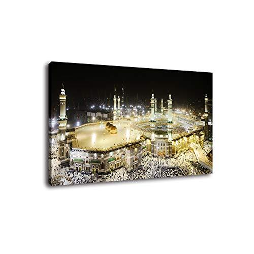 Fajerminart LED Light Leinwand Gemälde, Islamische muslimische Mekka Leinwand Hadsch Dekoration Malerei Kunst, Geeignet für Wohnzimmer, Schlafzimmer, Büro, Größe:30x40cm(Holzrahmen)(LED-Lichtleiste)