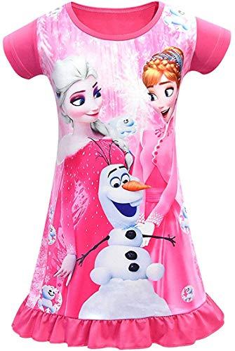 WNQY Little Girls Princess Dress Toddler Loose Cartoon Printed Dress (120/4-5T,Rose)